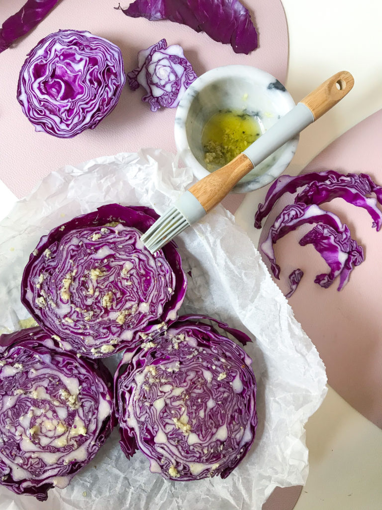 garlicky red cabbage steaks