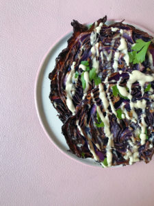 Garlicky Red Roasted Cabbage Steaks