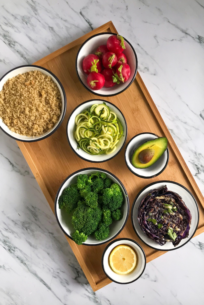 Healthy ingredients for your quinoa bowl.
