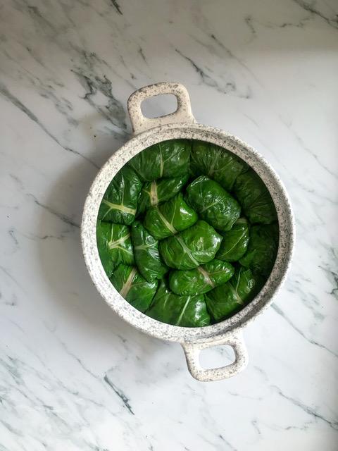 Stuffed chard inside a saucepan